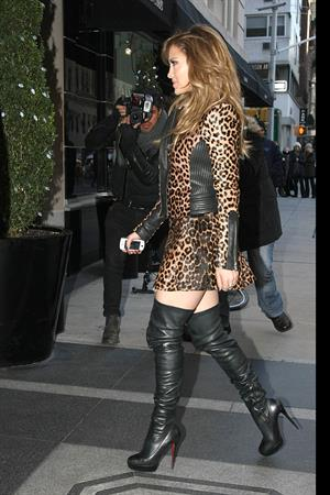 Jennifer Lopez Is seen wearing a sexy leopard print dress in NYC on January 22, 2013
