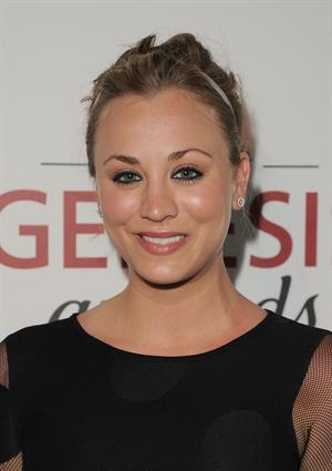 Kaley Cuoco arrives at the 26th Genesis Awards on March 24, 2012