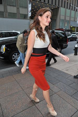 Leighton Meester  Arrives at Sirius XM Radio, New York City - October 3, 3012