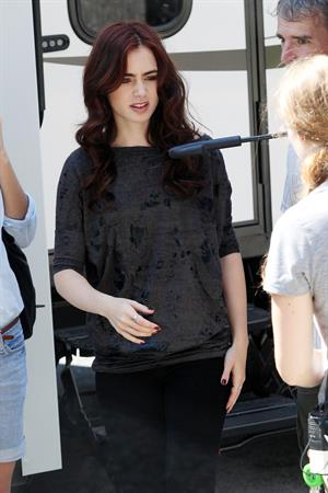Lily Collins On a break from filming her new movie The Mortal Instruments City of Bones in Toronto