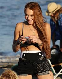 Lindsay Lohan - arriving to the beach in Malibu - August 12, 2012