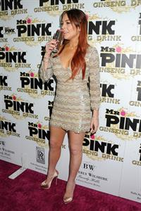 Lindsay Lohan Mr. Pink Ginseng Drink Launch Party in beverly Hills 10/11/12