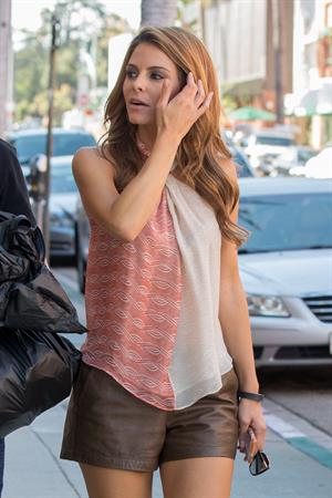 Maria Menounos pays a visit the doctor in Beverly Hills on August 5, 2013