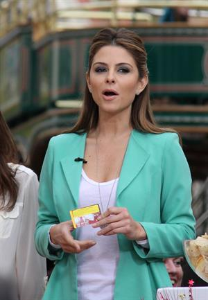 Maria Menounos on the set of Extra at The Grove in LA 1/9/13