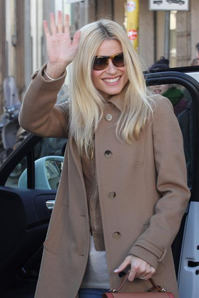 Michelle Hunziker Spotted at the Trussardi Cafe in Mailand on March 19, 2013