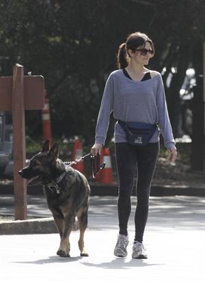 Nikki Reed jogging with her dog Enzo in Los Angeles on February 6, 2013