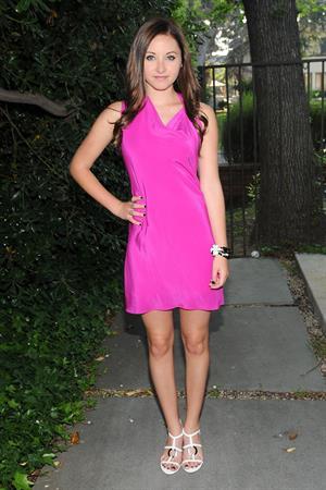 Rachel Fox posing in a pink dress in LA 11/26/12