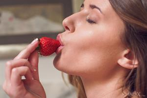 Sybil A in  Fruity Play  for MetArt X - Alex Lynn enjoys a midnight snack of ripe strawberries and some naughty masturbation in the kitchen
