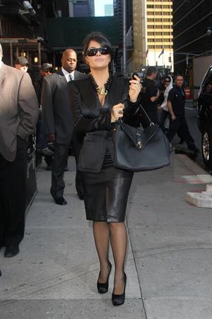 Salma Hayek Outside Ed Sullivan Theater for Letterman - October 10, 2012