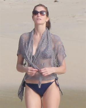 Stephanie Seymour bikini candids on the beach in St. Barts 12/22/12