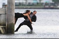 Minka Kelly films Charlie's Angels on a beach in Miami 02-09-2011