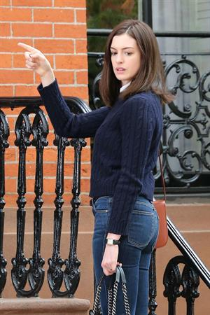 Anne Hathaway on set of The Intern in Brooklyn September 03, 2014