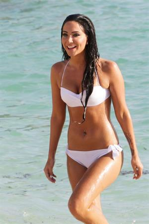 Tulisa Contostavlos in a bikini on the beach in Bermuda August 21, 2014