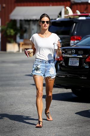 Alessandra Ambrosio gets her morning coffee August 24, 2014