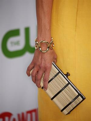 Julie Benz in a yellow dress at a Showtime CBS event