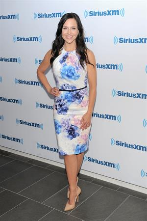 Julie Benz at SiriusXM with dark hair