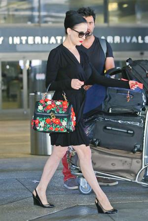 Dita Von Teese arrives from a flight at LAX August 20, 2014