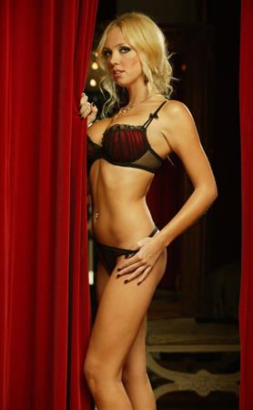 Aisleyne Wallace in red and black lingerie