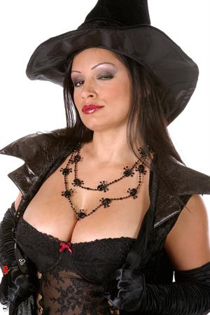 Aria Giovanni as sexy Halloween witch.  Treat or Treat!