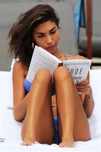 Chantel Jeffries Blue Bikini on the beach in Miami
