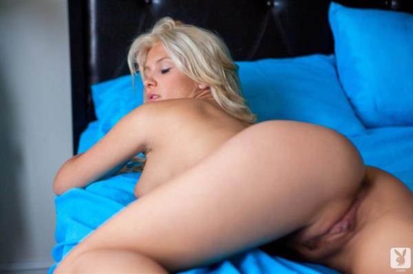Shantal Monique pink lingerie and blue bed sheets for Playboy