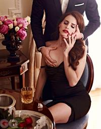 Lana Del Rey getting her nude boobs grabbed on for a GQ photoshoot with her dress pulled down.