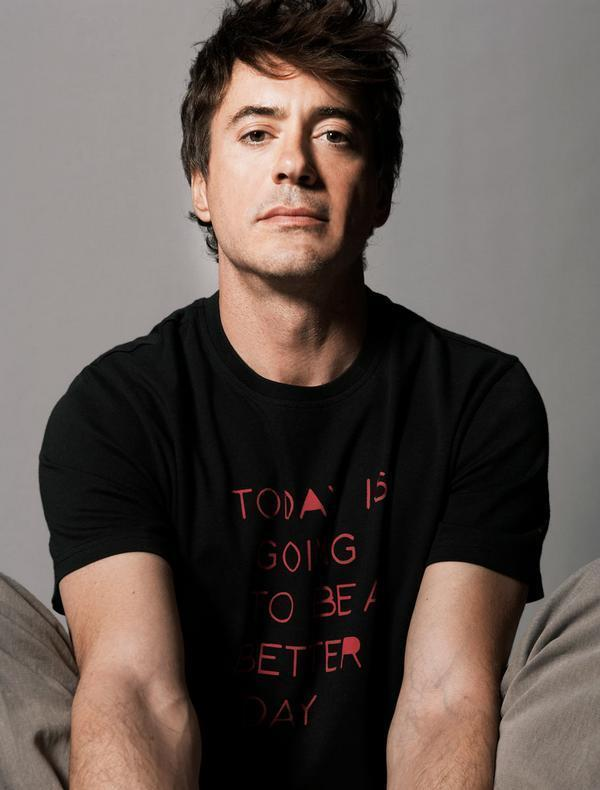 Robert Downey Jr hot in just his tshirt