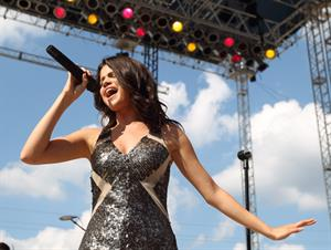 Selena Gomez performs at the Hoosier Lottery Grandstand in Indianapolis Indiana on August 15, 2010
