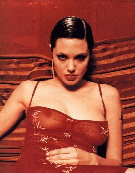 Angelina Jolie in lingerie - breasts